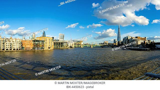 View of The Thames and Broken Wharf with The Shard, London, England, United Kingdom
