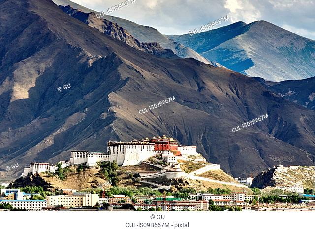 View of Potala Palace and mountains, Lhasa, Xizang, China