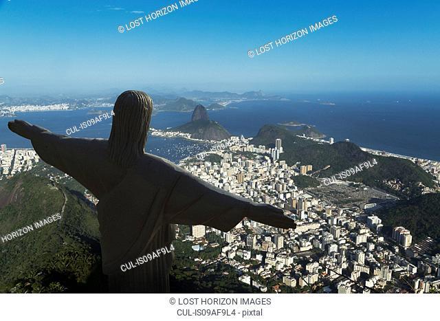 Christ the Redeemer statue and the coastline, Rio De Janeiro, Brazil