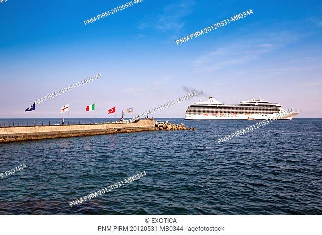 Cruise ship in the sea, Amalfi, Province of Salerno, Campania, Italy