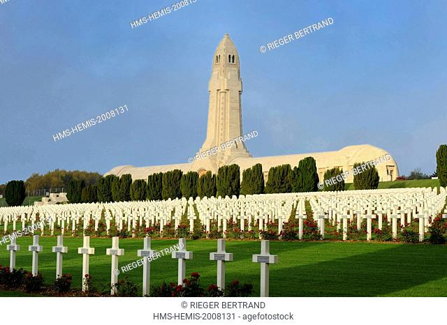 France, Meuse, Douaumont, battle of Verdun, ossuary of Douaumont, soldiers graves aligned in front of the national necropolis
