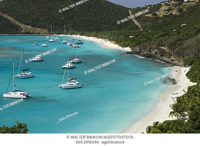 British Virgin Islands, Jost Van Dyke, White Bay, elevated view