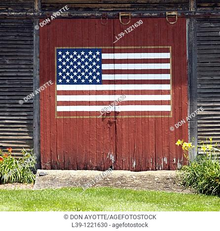 American Flag painted on a barn in Shelburne, MA, USA