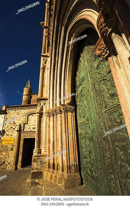 Access doors, Royal Monastery of Santa Maria de Guadalupe, Real Monasterio de Nuestra Señora de Guadalupe, UNESCO World Heritage Site, Guadalupe town