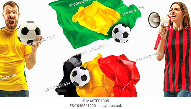 0146323a3 The collage about emotions of football fans of Brazil and Belgium teems and  flags isolated on