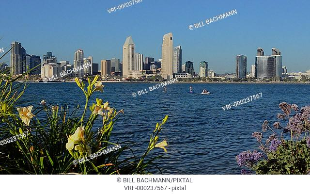 City of San Diego California from Coronado in san Diego Bay of skyline and skyscrapers downtown