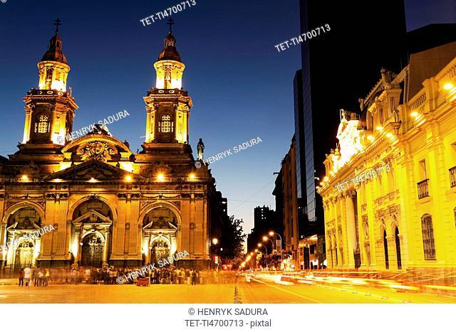 Illuminated Plaza de Armas in capital city