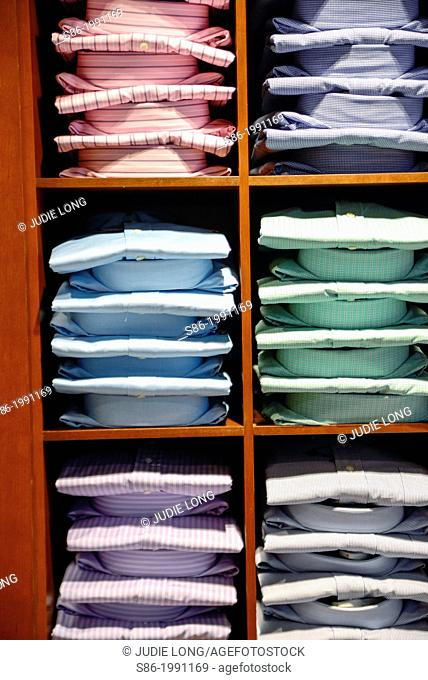 Stacks of Men's Dress Shirts Displalyed in a Retail Store