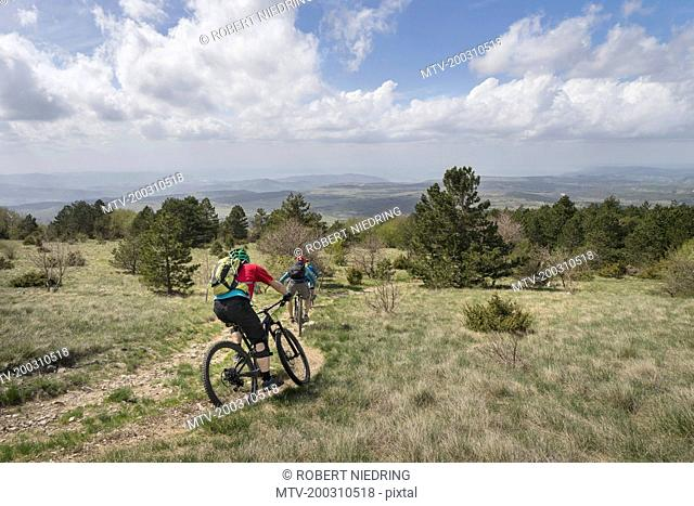 Mountain bikers riding bike on dirt road