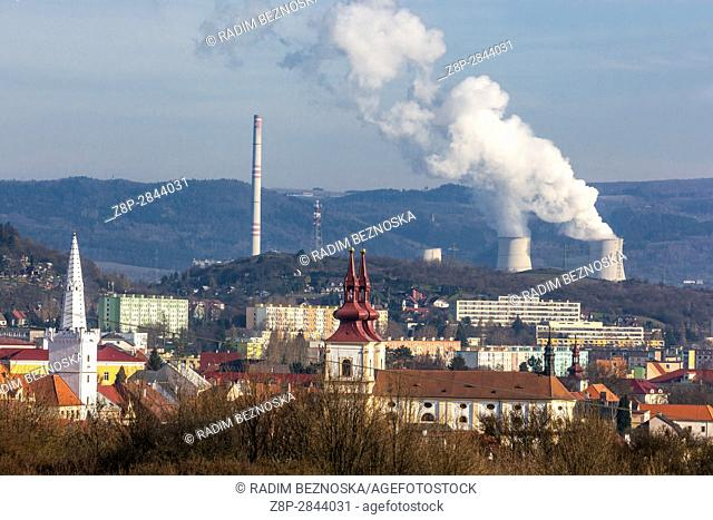 Panorama medieval town with a background thermal power plant Prunerov, Kadan, Northern Bohemia, Czech Republic, Europe