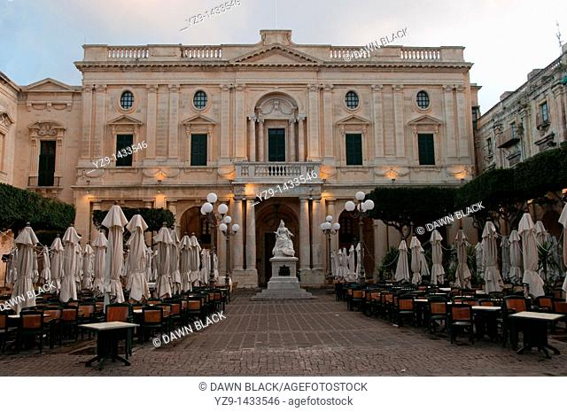 Republic Square with statue of Queen Victoria in front of the National Library, Valletta, Malta
