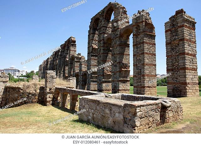 Roman Aqueduct of Merida Los Milagros. Extremadura, Spain
