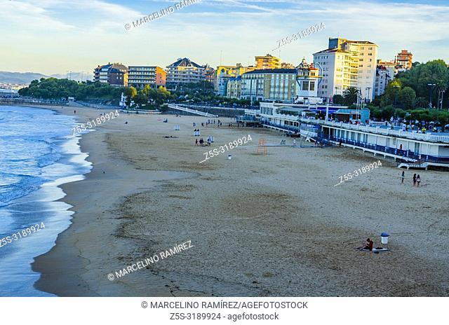 Santander Bay and El Sardinero Beach. Santander, Cantabria, Spain, Europe
