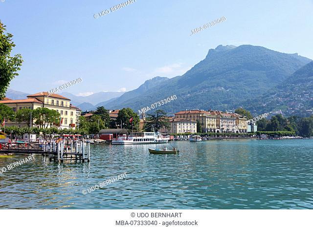 Boat trip on Lake Lugano with a view of Lugano, Lungolago, Ticino, Switzerland
