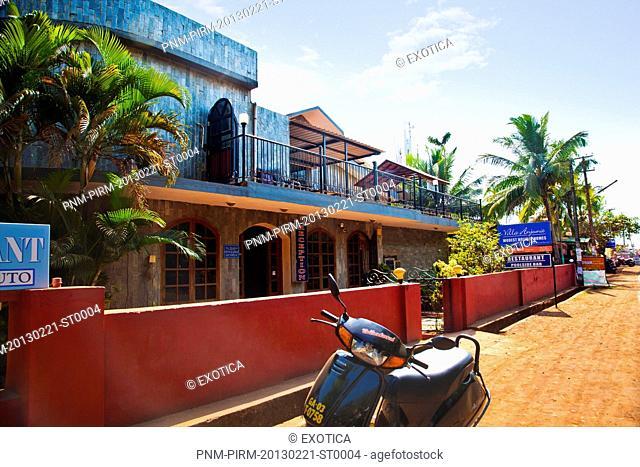 Facade of a building, Villa Anjuna, Anjuna Beach Road, Anjuna, Bardez, North Goa, Goa, India