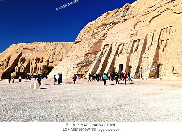 The Temple of Ramesses II and the Temple of Nefertari dedicated to Hathor at Abu Simbel in Egypt
