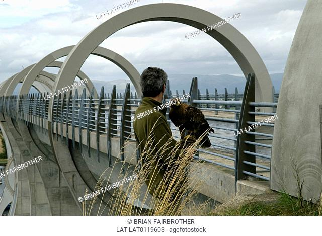 The Falkirk Wheel,the rotating boat lift opened in 2002 to provide a new link between the Forth & Clyde canal and the Union Canal