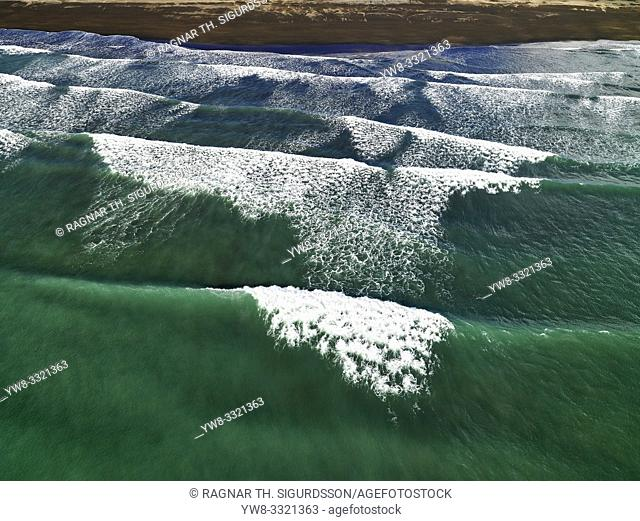 Waves, South Coast, Iceland. This image is shot from a helicopter