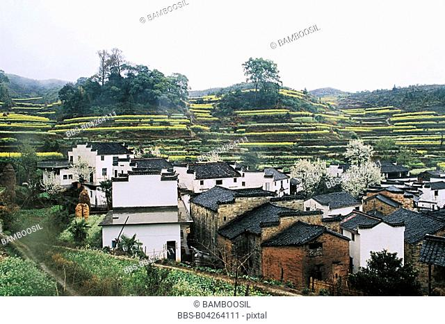 Qinyuan village in spring, Wuyuan County, Jiangxi Province, People's Republic of China
