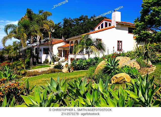 California house in a Spanish style architectural design in Santa Barbara