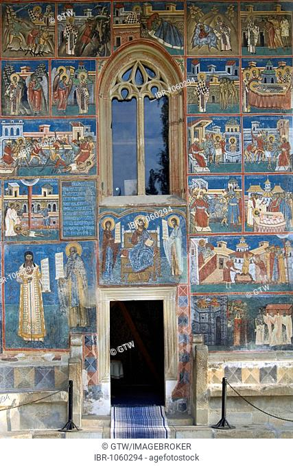 Church of St George of the Voronet Monastry, south façade with scenes from the lives of Sts Nicholas and John the New, UNESCO World Heritage Site