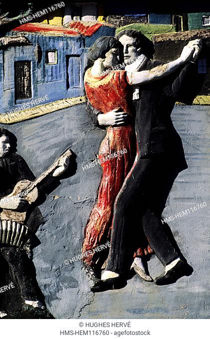 Argentina, Buenos Aires, La Boca district, fresco of the street Caminito