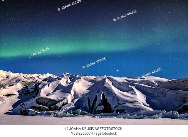 Northern Lights over Russell Glacier, Kangerlussuaq, Artic Circle, Greenland, Europe