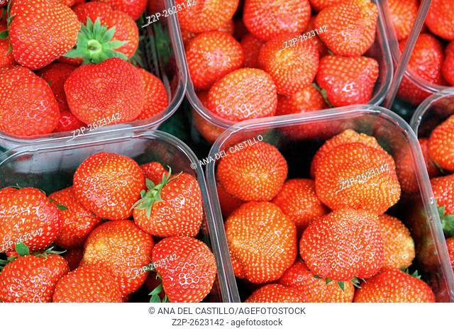 Strawberries Nachtmarkt street market in Vienna Austria