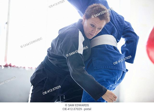 Women practicing judo, tackling in gym
