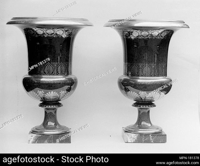 Pair of vases. Factory: Sèvres Manufactory (French, 1740-present); Decorator: Gilded by Richard (French, active 1815-48); Date: 1825; Culture: French