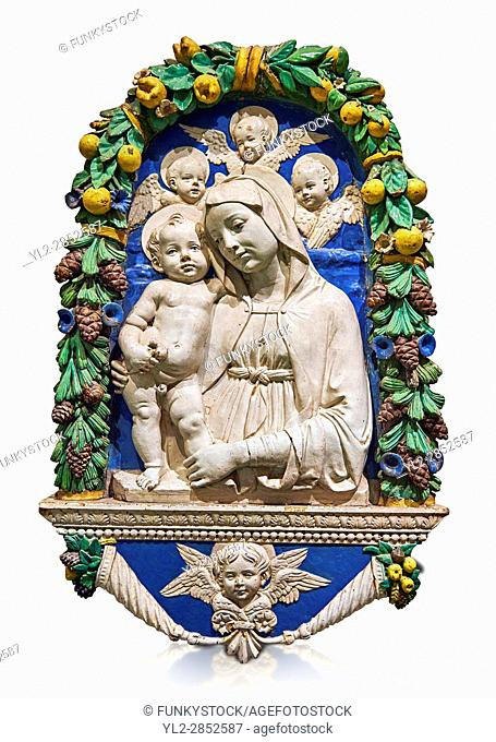 Enamelled terracotta relief panel of the Virgin and Child with Cherubs by Andrea della Robbia, Florence circa 1435-1525. Inv Campana 32, The Louvre Museum