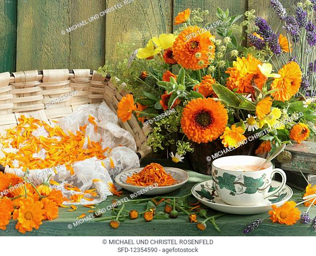 Still life with marigold tea, marigold flowers, herbs, and dried marigold petals