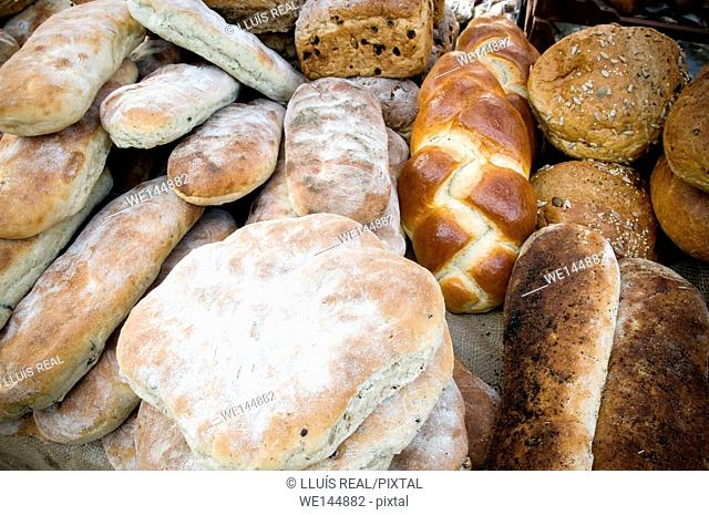 different types of bread in a bakery. Chapatas, Wholemeal bread, Organic, Seeded, Granary bread, Brioche