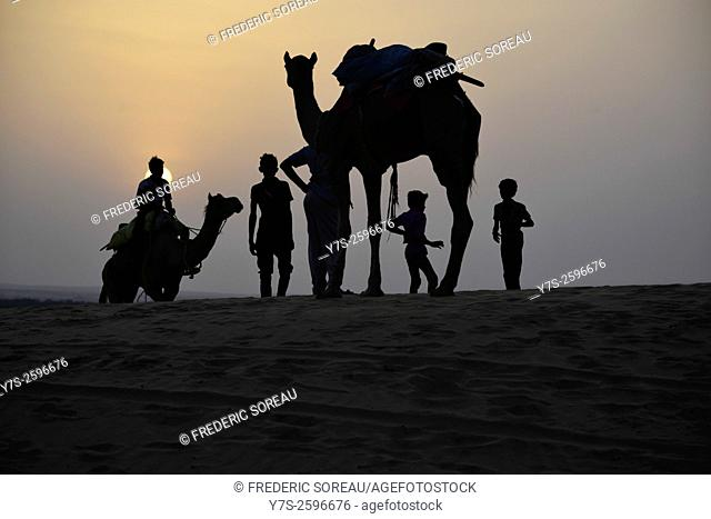 Silhouette of camels in That Desert Jaisalmer, India