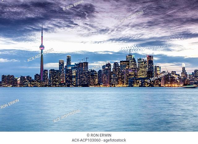 City of Toronto Ontario Canada skyline at dusk
