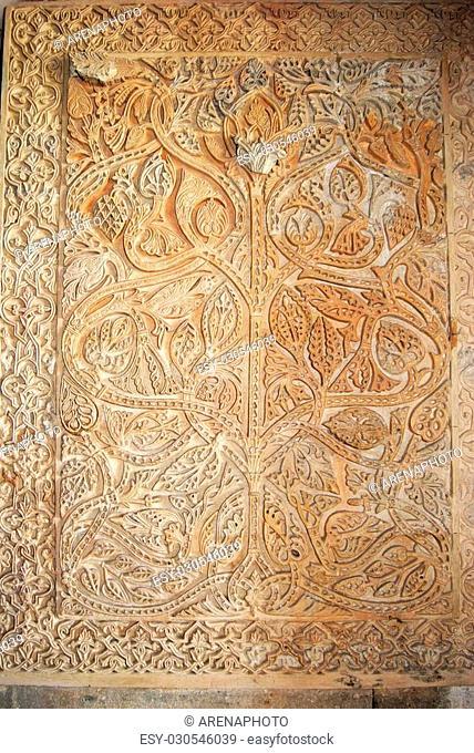 Wall detail in the Hall of Abd al-Rahman III, Central nave, Medina Azahara (Madinat al-Zahra), Near Cordoba, Cordoba Province, Andalucia, Spain, Western Europe