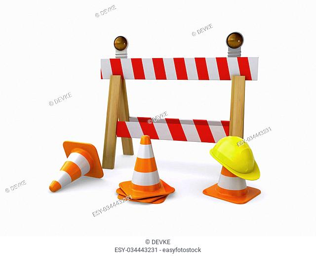 Construction barricade with a helmet and traffic cones on the white background (3d render)