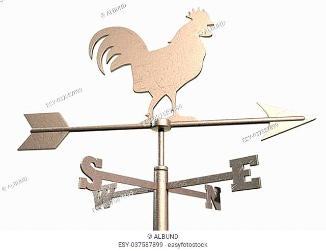 A regular metal weathervane with a cockeral motif facing north east with other directions depicted on an isolated background