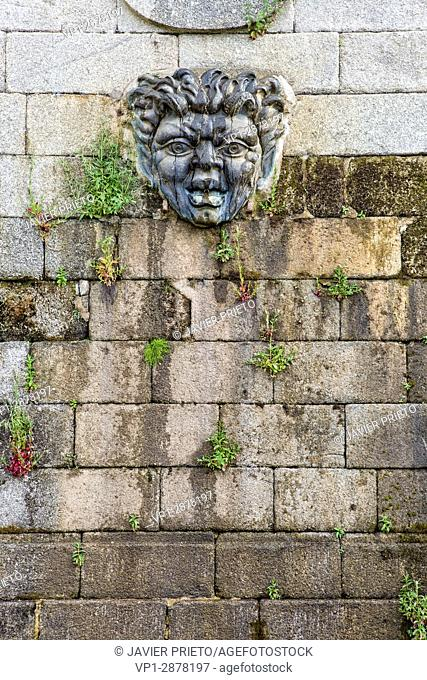 Mascaron of one of the fountains of the Gardens of the Ducal Palace of Piedrahita. Piedrahiita. Valley of the Corneja. Avila. Castilla y León. Spain