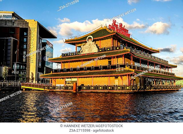 Chinese restaurant in the water of Amsterdam, the Netherlands, Europe