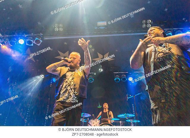 "Kiel, Germany - June 23rd 2016: The Berlin Deutschrock Band """"Haudegen"""" performs in the Kiel Week Music Tent during the Kiel Week 2016"