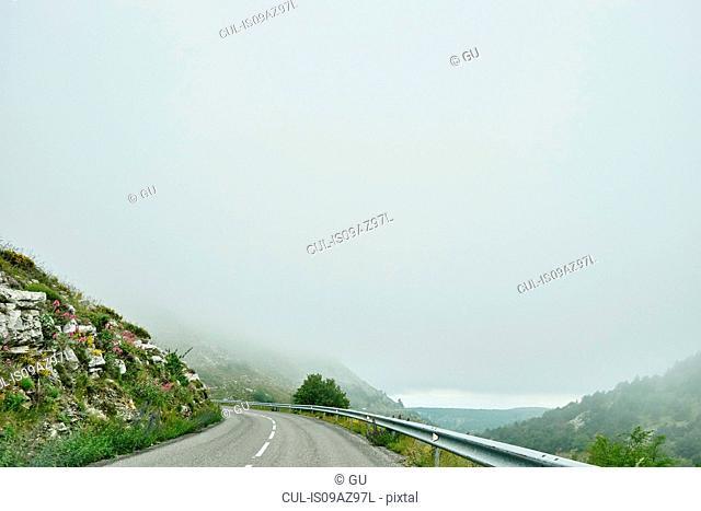 Landscape and mountain road, Gourdon, Alpes Maritimes, France