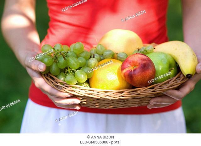 Fresh fruits in basket, Debica, Poland
