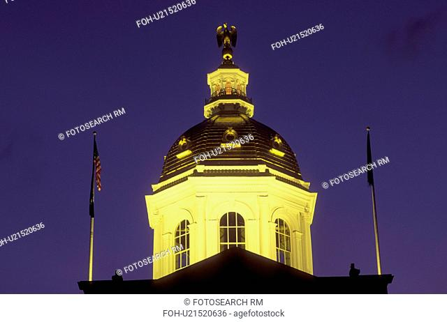 State House, dome, Concord, State Capitol, NH, New Hampshire, The dome of The New Hampshire State House in the capital city of Concord illuminated at night