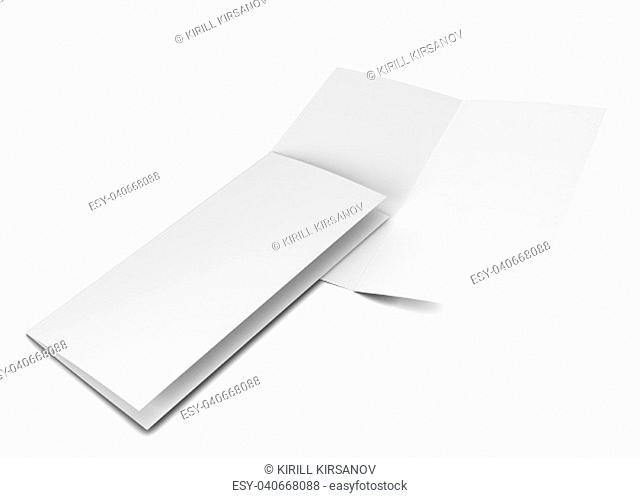 Bi-fold brochure. 3d illustration isolated on white background
