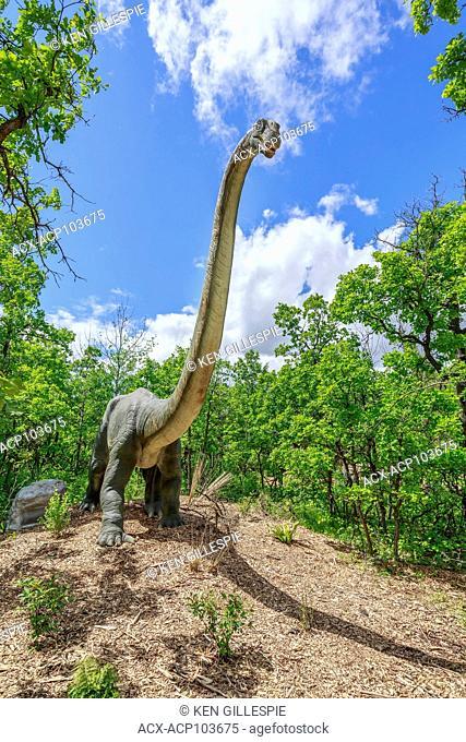 Omeisaurus, a herbivore at Dinosaurs Alive, Assiniboine Park Zoo, Winnipeg, Manitoba, Canada
