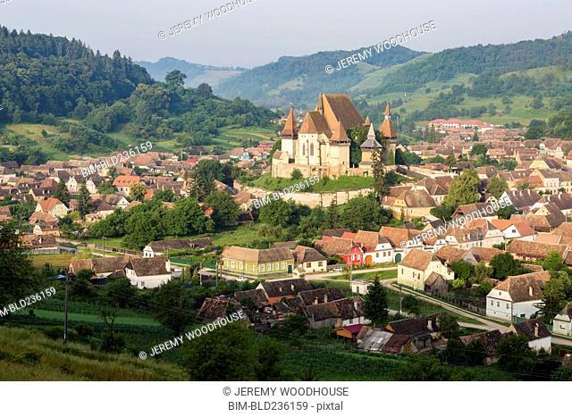 Cityscape in valley, Biertan, Transylvania, Romania