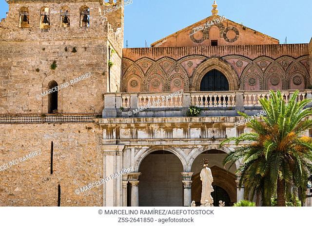 Exterior of Norman cathedral of Monreale Santa Maria Nuova. Monreale, Palermo, Sicily, Italy