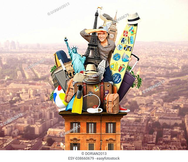 Tourist on the roof with luggage and landmarks