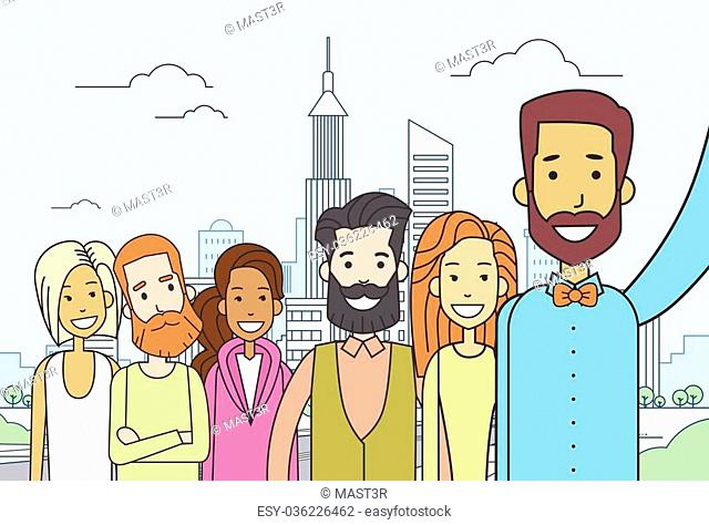 Diverse People Group Taking Selfie Photo City View Thin Line Vector Illustration
